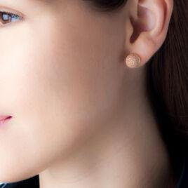 Boucles D'oreilles Puces Martina Argent Rose - Boucles d'oreilles fantaisie Femme   Histoire d'Or