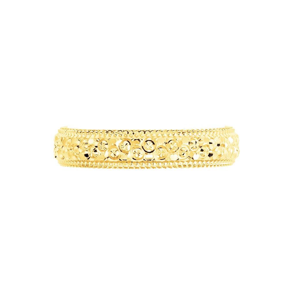 Alliance Fantaisie Diamantee Ruban Plat Or Jaune - Alliances Unisexe | Histoire d'Or