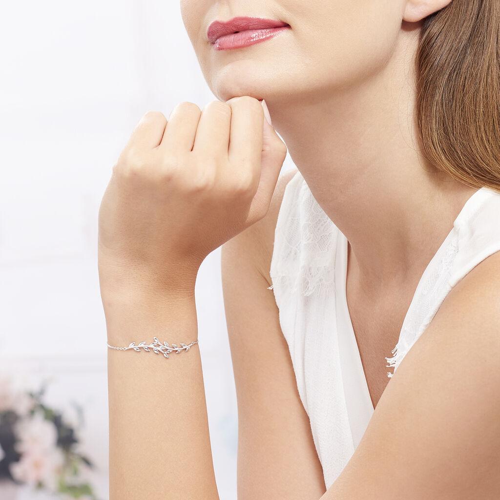 Bracelet Folia Argent Blanc - Bracelets Plume Femme | Histoire d'Or