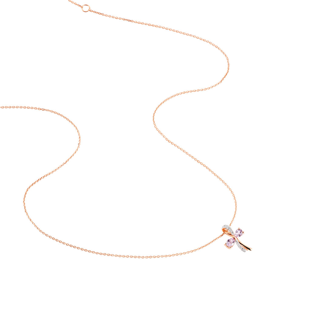 Collier Ilda Or Rose Amethyste Et Diamant - Bijoux Femme   Histoire d'Or