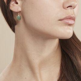 Boucles D'oreilles Pendantes Veina Plaque Or Jaune Aventurine - Boucles d'oreilles fantaisie Femme | Histoire d'Or