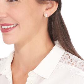 Boucles D'oreilles Puces Loeva Or Jaune Perle De Culture Et Oxyde - Clous d'oreilles Femme | Histoire d'Or