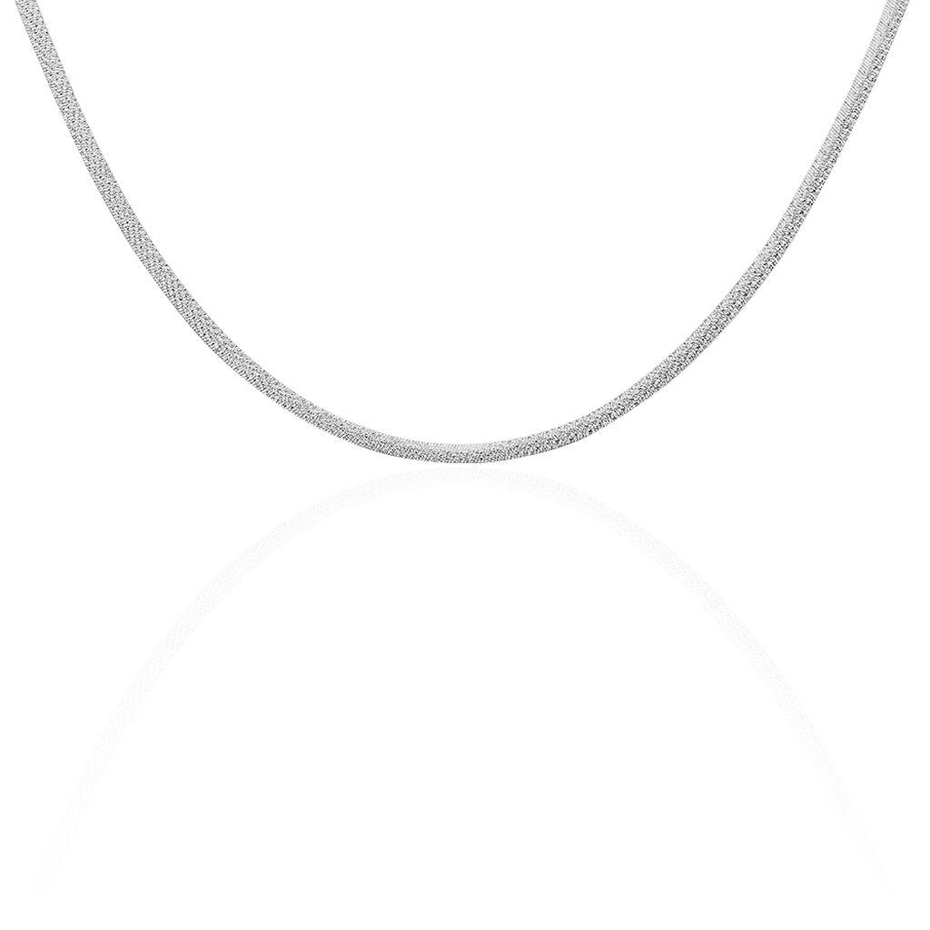Chaîne Zoubeida Maille Heringbone Argent Blanc - Chaines Femme | Histoire d'Or