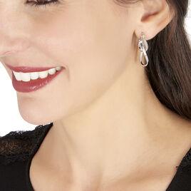 Créoles Luna Vrilees Or Blanc Strass - Boucles d'oreilles créoles Femme | Histoire d'Or