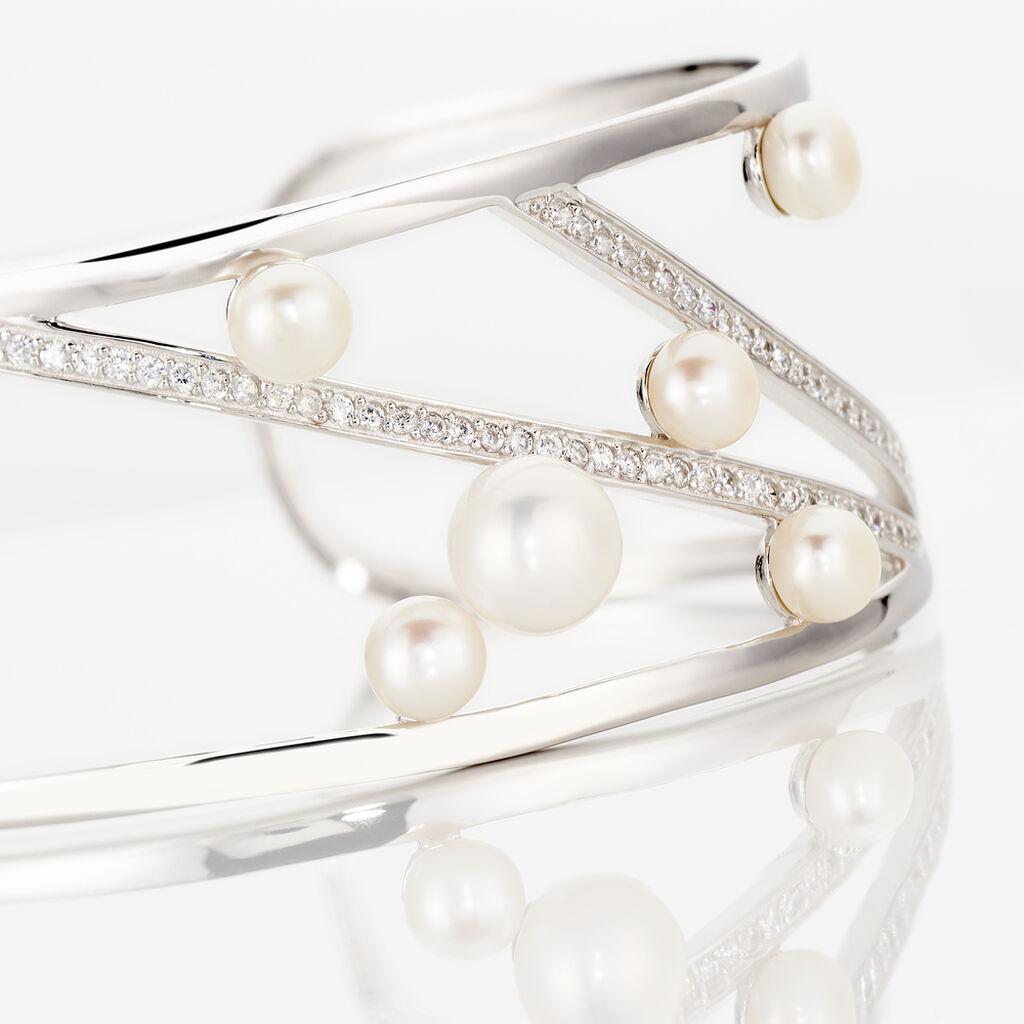 Bracelet Jonc Nissi Argent Blanc Perle De Culture Oxyde De Zirconium - Bracelets joncs Femme   Histoire d'Or