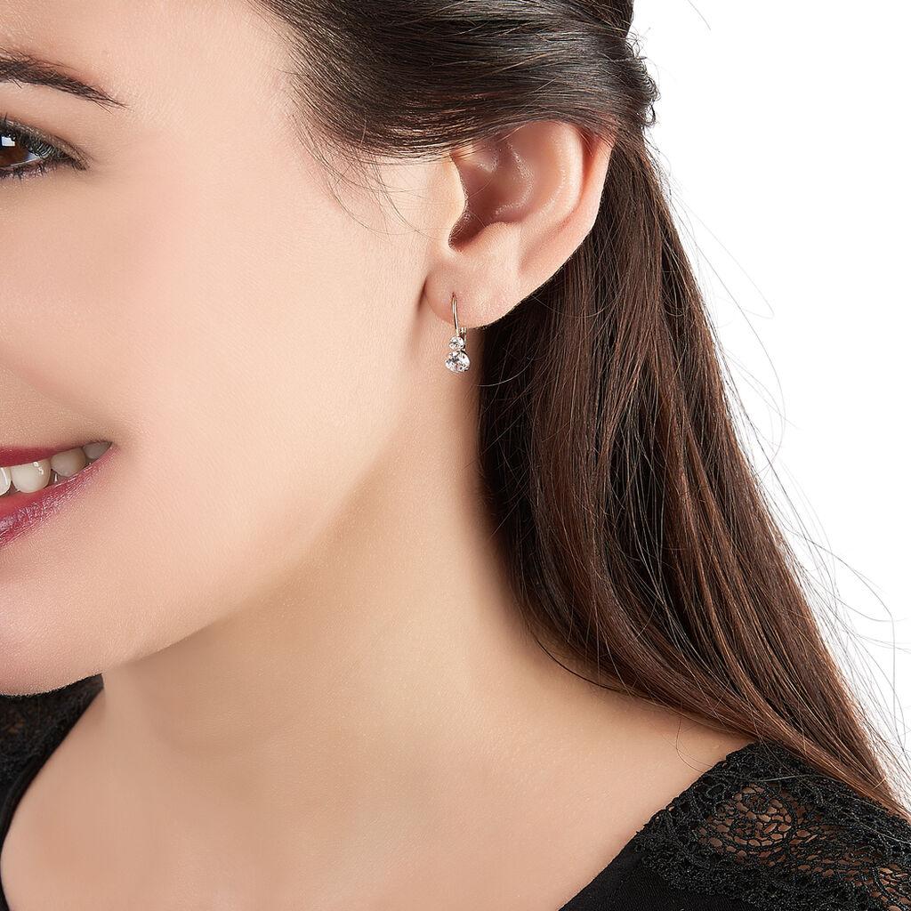 Boucles D'oreilles Pendantes Gulbeyaz Or Jaune Oxyde De Zirconium - Boucles d'Oreilles Main de Fatma Femme | Histoire d'Or