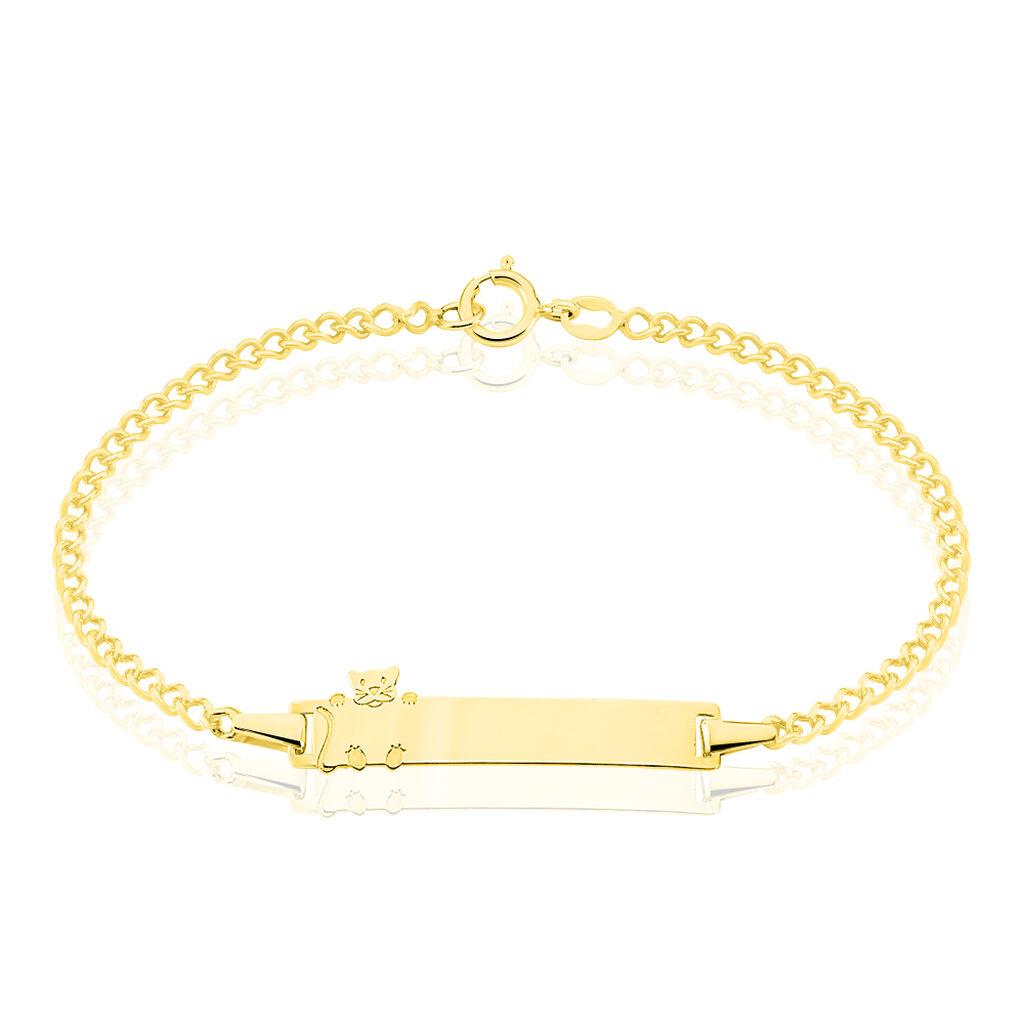 Bracelet Identité Etheline Maille Gourmette Or Jaune - Gourmettes Femme   Histoire d'Or