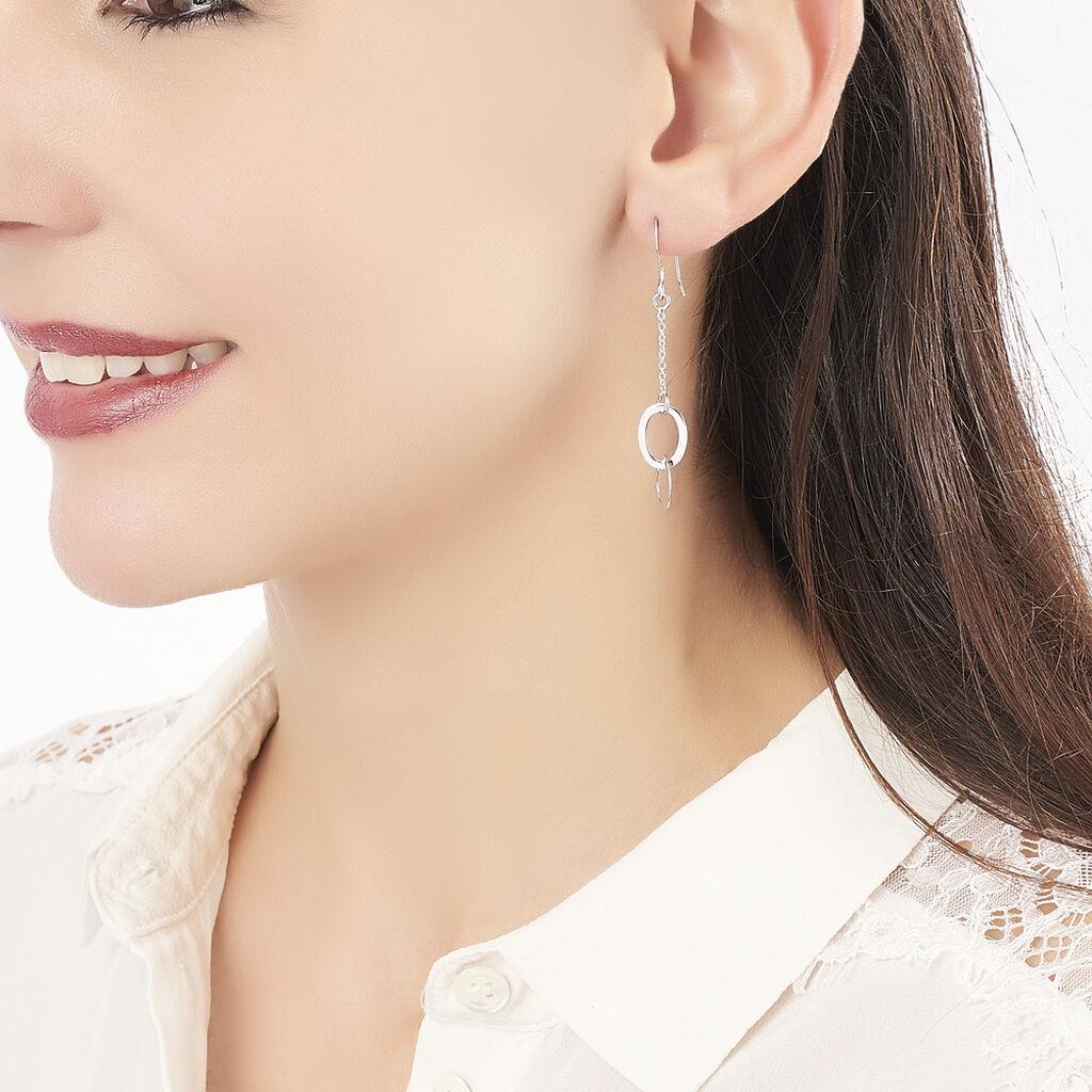 Boucles D'oreilles Pendantes Toi Et Moi Argent Blanc - Boucles d'oreilles fantaisie Femme | Histoire d'Or