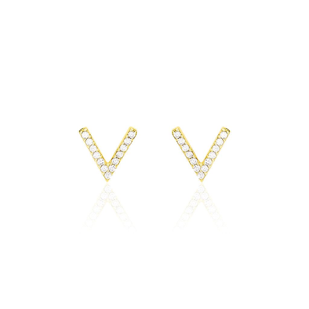 Boucles D'oreilles Puces Enimia Motif V Or Jaune Oxyde De Zirconium - Clous d'oreilles Femme | Histoire d'Or