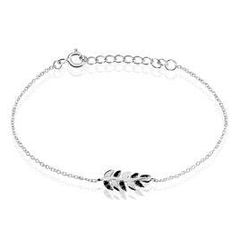 Bracelet Argent Rhodie Jade Feuille Oxyde - Bracelets Plume Femme | Histoire d'Or