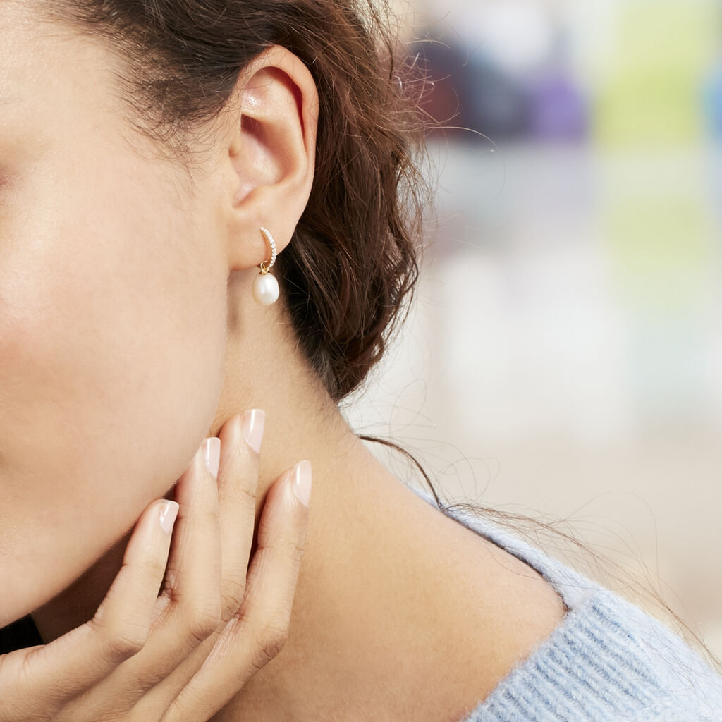 Créoles Anes Poire Or Jaune Perle De Culture Et Oxyde De Zirconium - Boucles d'oreilles créoles Femme   Histoire d'Or