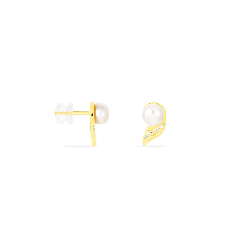 Boucles D'oreilles Puces Antoinette Or Jaune Perle De Culture - Clous d'oreilles Femme | Histoire d'Or