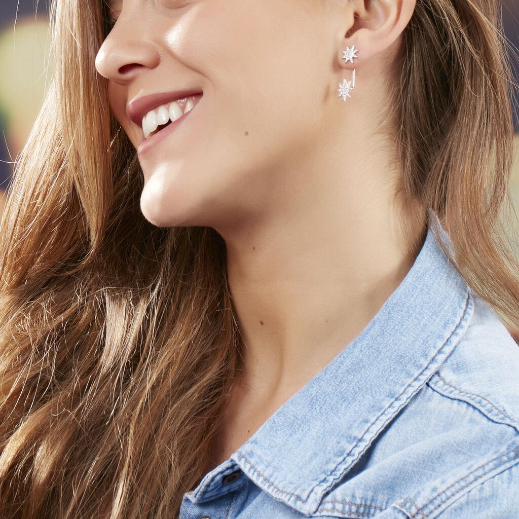 Bijoux D'oreilles Sathya Argent Blanc Oxyde De Zirconium - Boucles d'Oreilles Etoile Femme | Histoire d'Or