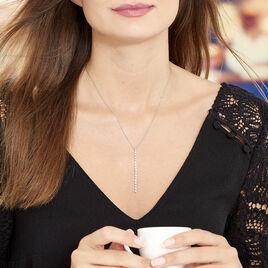 Collier Whitney Argent Blanc Oxyde De Zirconium - Colliers fantaisie Femme   Histoire d'Or