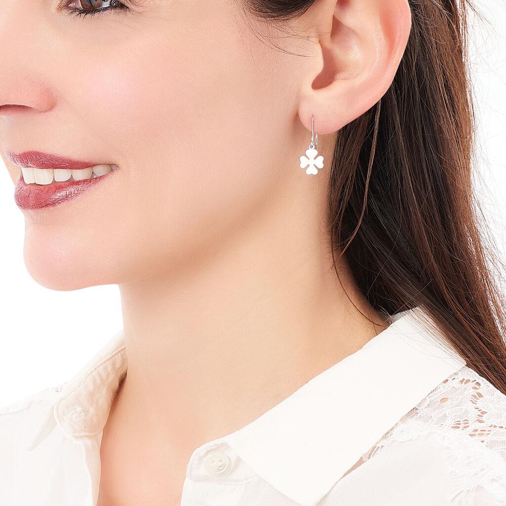 Boucles D'oreilles Pendantes Naomie Argent Blanc - Boucles d'Oreilles Trèfle Femme   Histoire d'Or