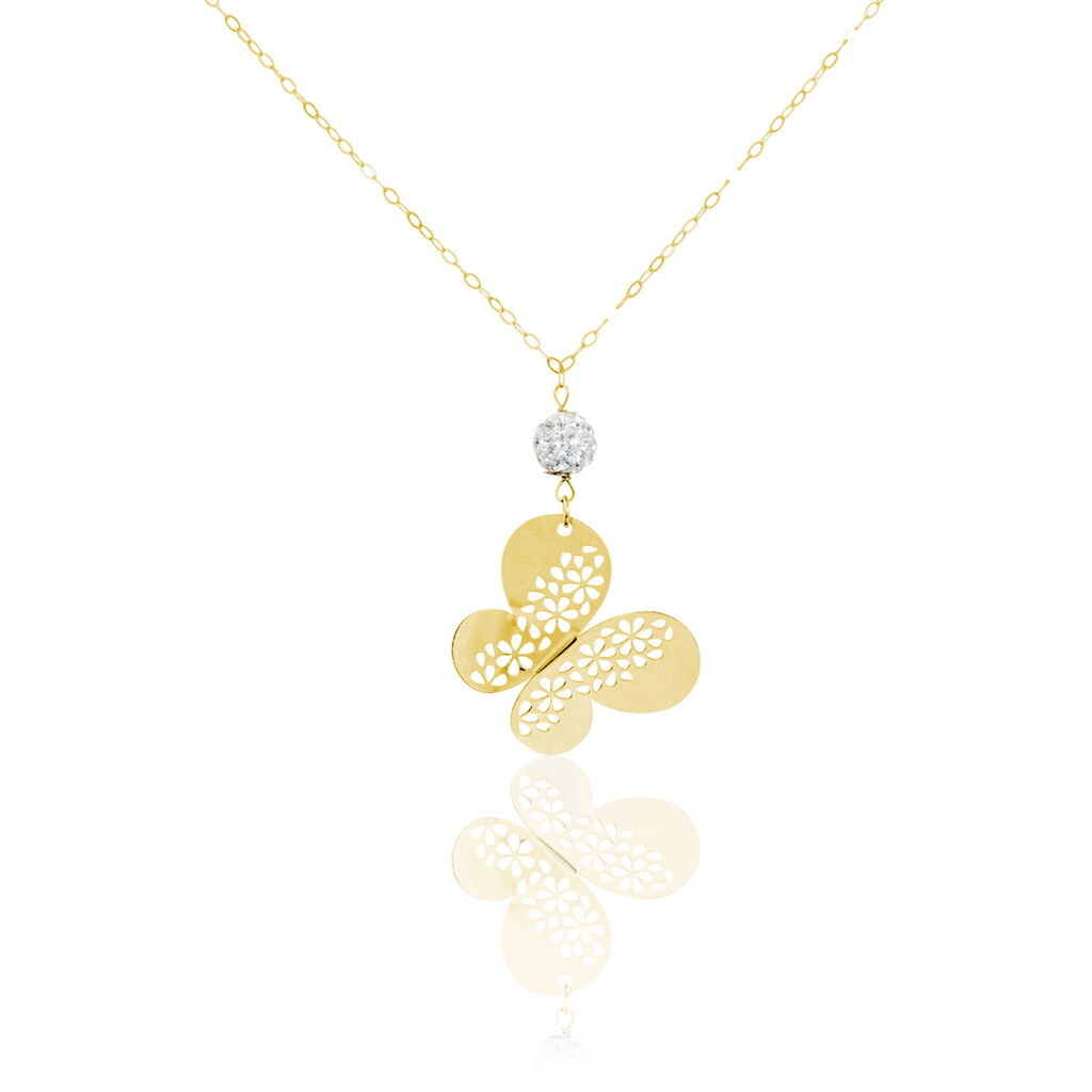 Collier Steline Or Jaune Strass - Colliers Papillon Femme | Histoire d'Or