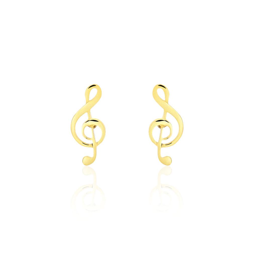 Boucles D'oreilles Puces Bayram Musique Or Jaune - Clous d'oreilles Femme | Histoire d'Or