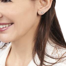 Boucles D'oreilles Puces Eden Serti Pneu Or Blanc Oxyde De Zirconium - Clous d'oreilles Femme | Histoire d'Or