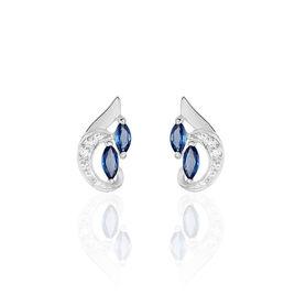 Boucles D'oreilles Puces Sakina Or Blanc Saphir Et Diamant - Clous d'oreilles Femme | Histoire d'Or