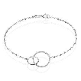 Bracelet Argent Rhodie Yalaz Double Cercle - Bracelets fantaisie Femme | Histoire d'Or