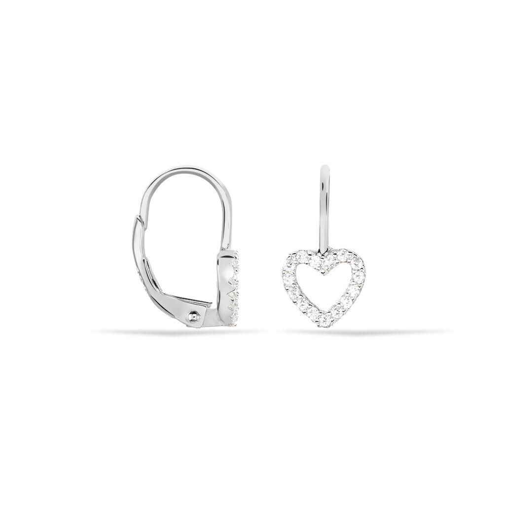 Boucles D'oreilles Pendantes Elisene Argent Blanc Oxyde De Zirconium - Boucles d'Oreilles Coeur Femme | Histoire d'Or