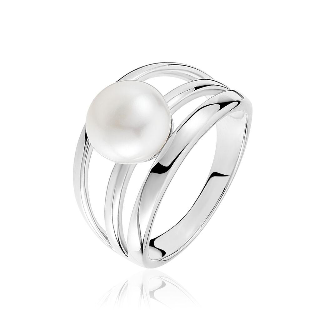 Bague Hendrina Argent Blanc Perle De Culture - Bagues avec pierre Femme | Histoire d'Or