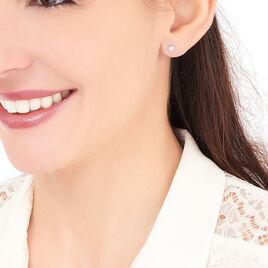 Boucles D'oreilles Puces Fatiana Or Blanc Diamant - Clous d'oreilles Femme | Histoire d'Or
