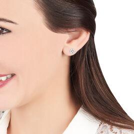 Boucles D'oreilles Puces Mila Or Blanc Oxyde De Zirconium - Clous d'oreilles Femme | Histoire d'Or