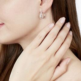 Créoles Dorinya Rondes Argent Blanc Oxyde De Zirconium - Boucles d'oreilles créoles Femme   Histoire d'Or