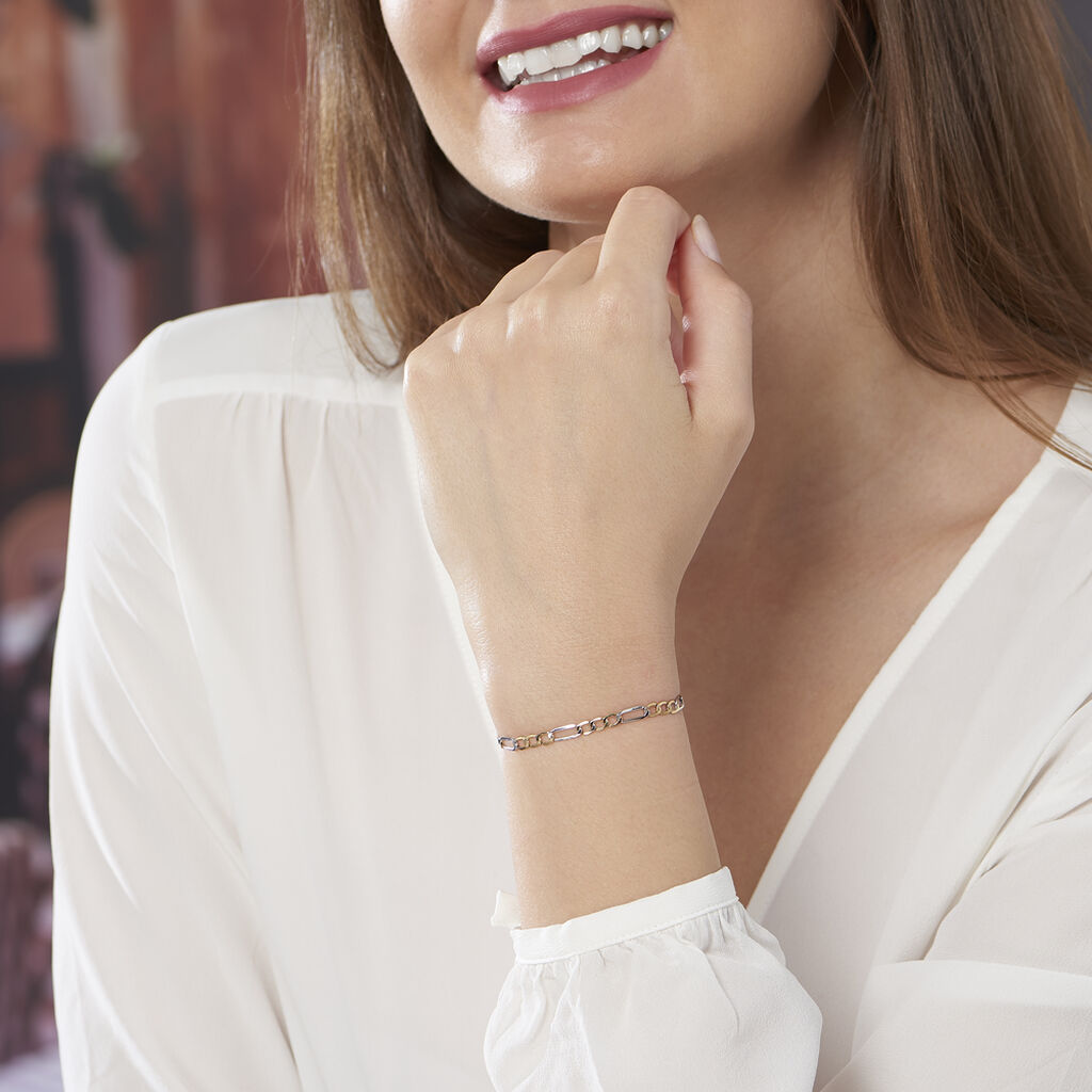Bracelet Cameo Maille Alternee 1/3 Or Bicolore - Bracelets chaîne Femme   Histoire d'Or