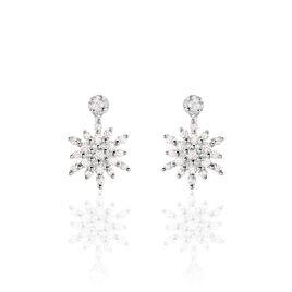 Boucles D'oreilles Puces Anelya Or Blanc Oxyde De Zirconium - Clous d'oreilles Femme   Histoire d'Or