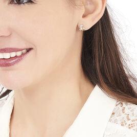 Boucles D'oreilles Puces Volute Or Jaune Diamant - Clous d'oreilles Femme | Histoire d'Or