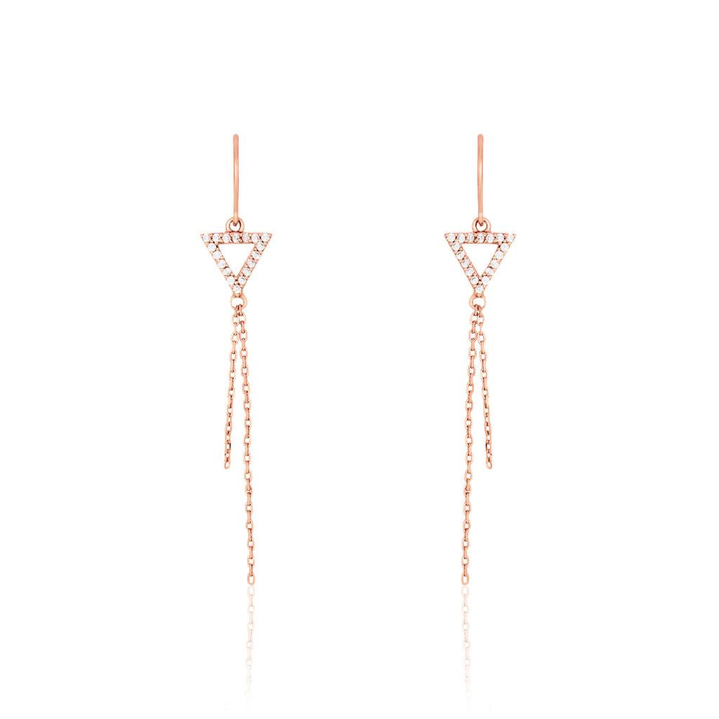 Boucles D'oreilles Pendantes Loria Argent Rose Oxyde De Zirconium - Boucles d'oreilles fantaisie Femme   Histoire d'Or