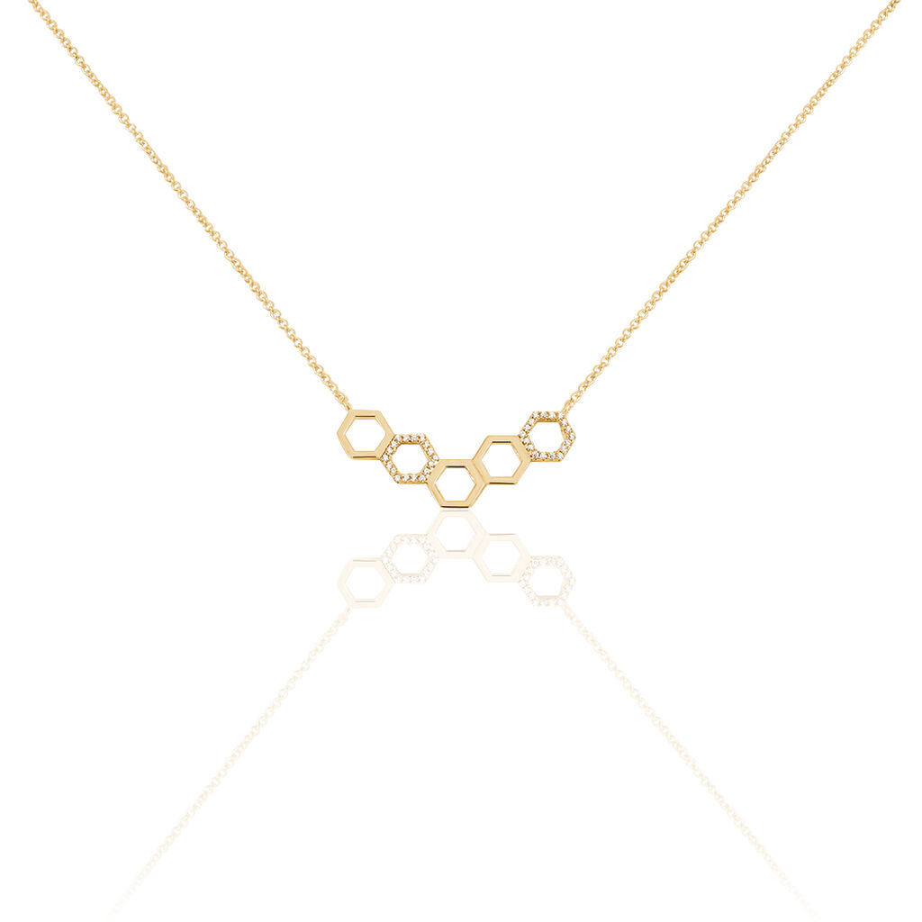 Collier Maria-lourdes Plaque Or Jaune Oxyde De Zirconium - Bijoux Femme | Histoire d'Or