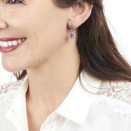 Boucles D'oreilles Pendantes Vannina Or Rose Amethyste Diamant - Boucles d'Oreilles Plume Femme | Histoire d'Or