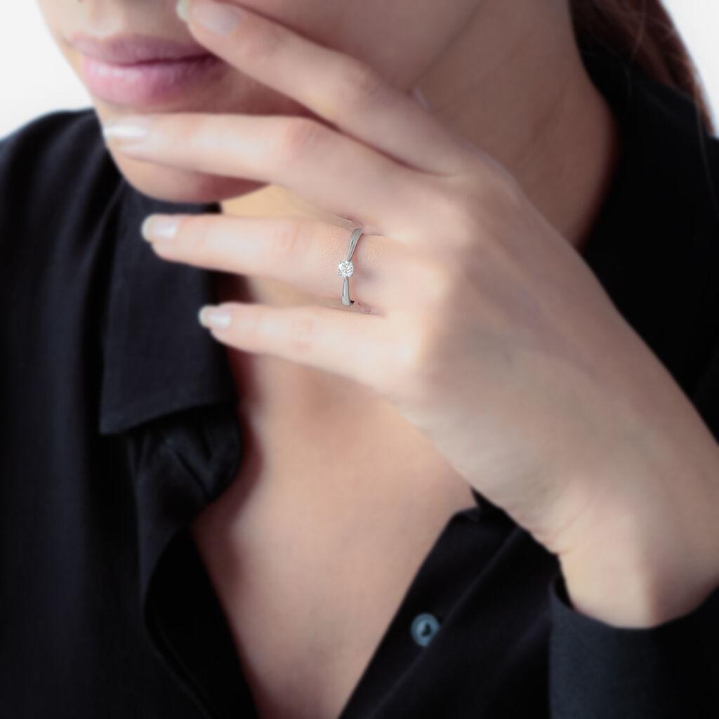 Bague Solitaire Collection Victoria Or Blanc Diamant - Bagues avec pierre Femme   Histoire d'Or