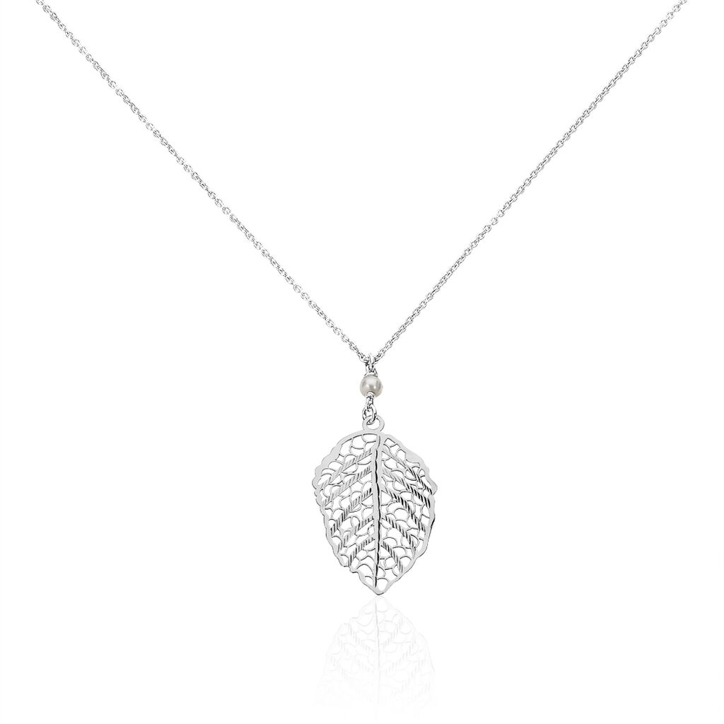 Collier Rosalie Argent Blanc Perle De Culture Et Oxyde De Zirconium - Colliers Plume Femme | Histoire d'Or