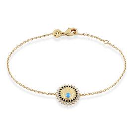 Bracelet Atea Plaque Or Pierre De Synthese Et Oxyde De Zirconium - Bracelets Main de Fatma Femme   Histoire d'Or