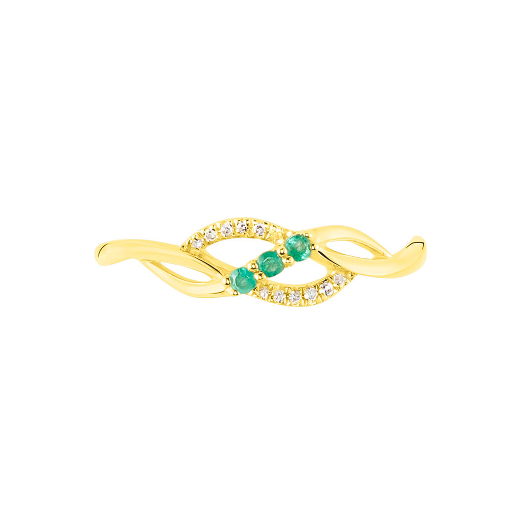 Bague Rosalyne Or Jaune Emeraude Et Diamant - Bagues avec pierre Femme   Histoire d'Or