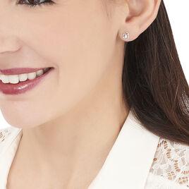 Boucles D'oreilles Puces Nid Amour Or Blanc Diamant - Clous d'oreilles Femme   Histoire d'Or
