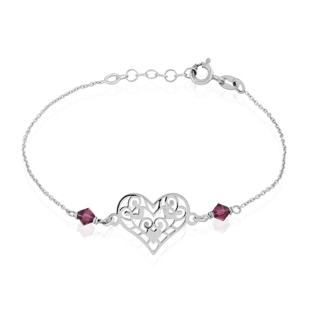 Bracelet Amore Argent Blanc Pierre De Synthese - Bracelets Coeur Femme | Histoire d'Or