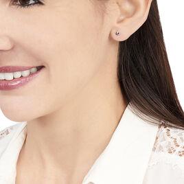 Boucles D'oreilles Puces Doreen Carre Or Blanc Oxyde De Zirconium - Clous d'oreilles Femme | Histoire d'Or