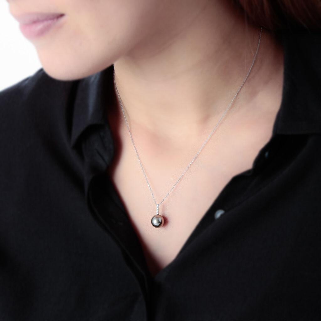 Collier Ocelina Or Blanc Perle De Culture De Tahiti Et Diamant - Bijoux Femme | Histoire d'Or