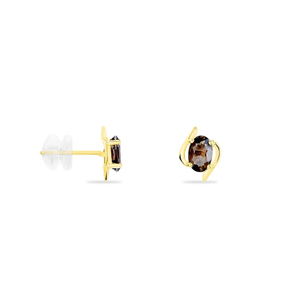 Boucles D'oreilles Puces Vrille Ovale Or Jaune Quartz - Clous d'oreilles Femme   Histoire d'Or