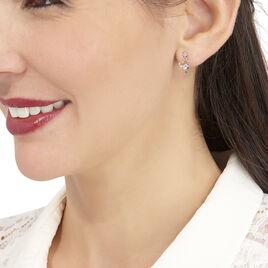 Boucles D'oreilles Puces Romance Or Blanc Oxyde De Zirconium - Boucles d'Oreilles Coeur Femme | Histoire d'Or