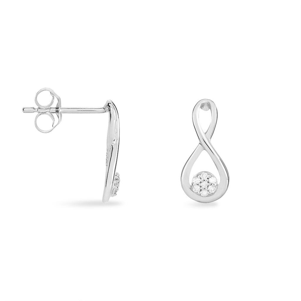 Boucles D'oreilles Puces Shaeen Or Blanc Diamant - Clous d'oreilles Femme   Histoire d'Or