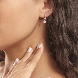 Boucles D'oreilles Pendantes Corianne Argent Blanc Oxyde De Zirconium - Boucles d'oreilles fantaisie Femme   Histoire d'Or