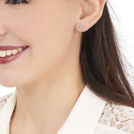 Boucles D'oreilles Puces Donna Coeurs Ajoures Or Rose - Boucles d'Oreilles Coeur Femme | Histoire d'Or