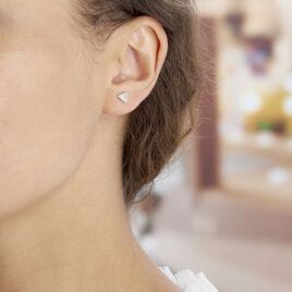Boucles D'oreilles Puces Bartoumieu Argent Blanc Oxyde De Zirconium - Boucles d'oreilles fantaisie Femme   Histoire d'Or
