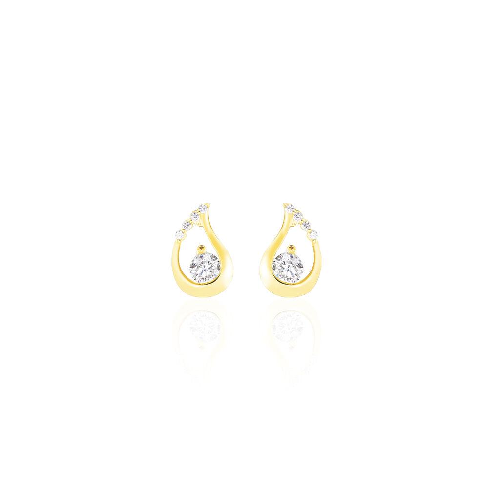 Boucles D'oreilles Puces Helie Goutte Or Jaune Oxyde De Zirconium - Clous d'oreilles Femme | Histoire d'Or